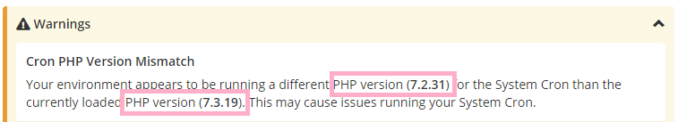 whmcs cron php version mismatch